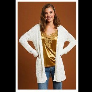 New Listicle Popcorn Cardigan Sweater Sweet Cream